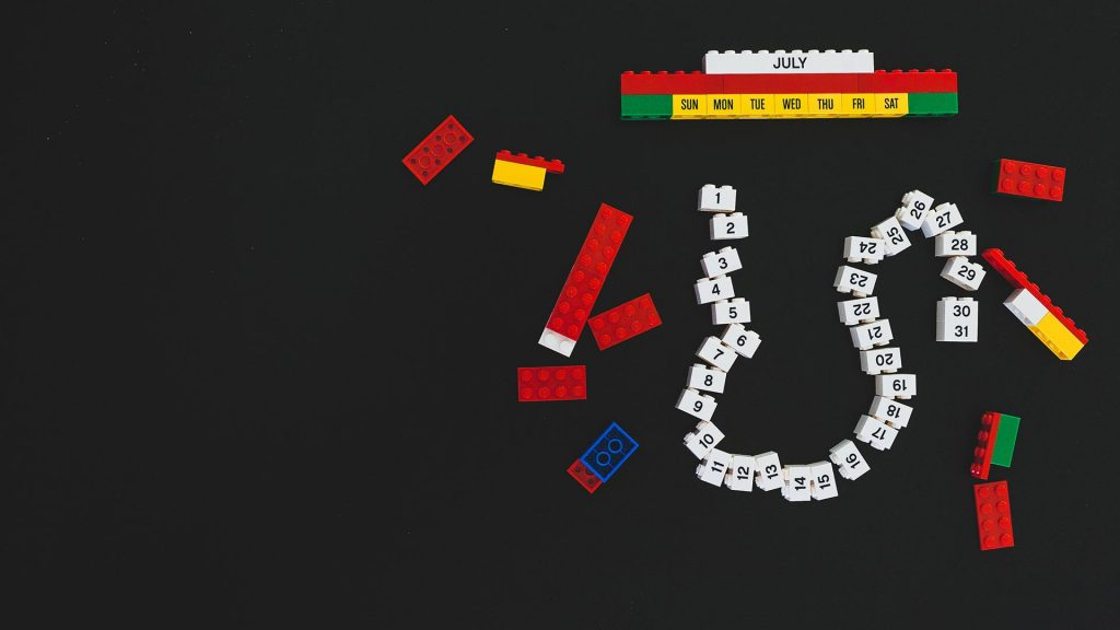 Lego calendar with the numbers 1 through 31