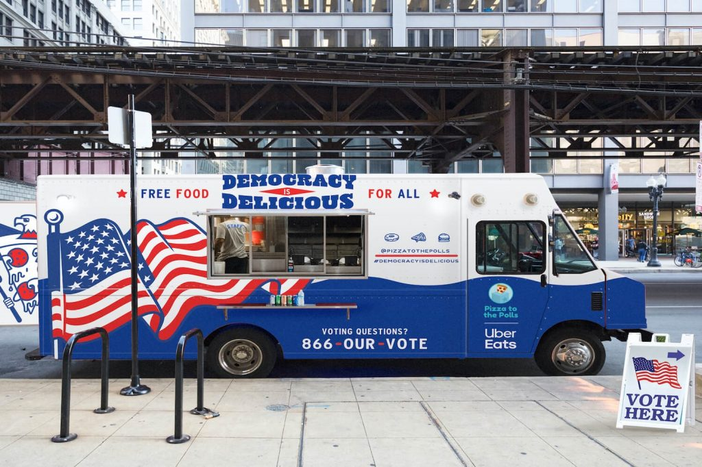 Pizza to the Polls delivery truck