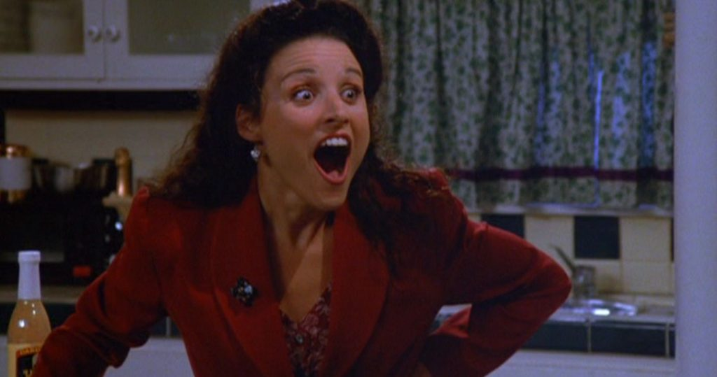 Elaine Benes gets upset over exclamation points
