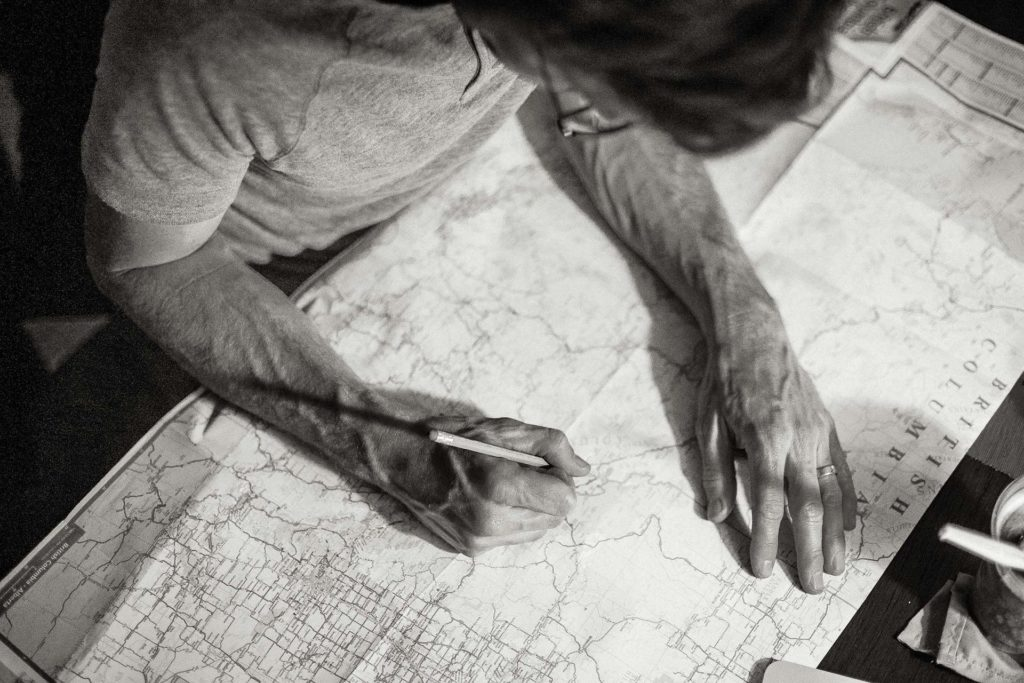 I plan our route in the Canadian Rockies
